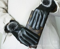 2013 New Women Outdoor Cycling Winter Warm Leather Gloves Cashmere Inside Free Shipping  HTNST-005