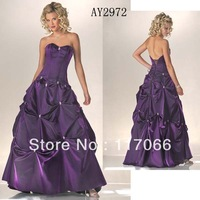 Free shipping 2014 new fashion purple sweetheart off-shoulder draped and beaded prom dress ball gown custom made