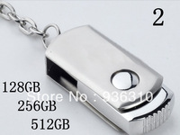 Wholesale 2pcs/lot 256GB-512GB USB Flash drive free shipping by china And hongkong post Swivel Metal USB flash drive