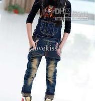 Suspender Thouser  Girl  Denim   Girl Clothes Children Suspender Thouser Kids Casual Pants Long Trousers Blue Jeans Child Clothi