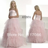 Custom made 2013 new arrival pink ball gown sweetheart ruffling and beaded Tull prom dress