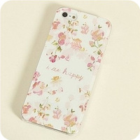 new arrival high quality flowers drawing plastic cover for i phone 5 cases free shipping