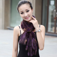 Women's mink knitted scarf autumn and winter fur scarf women's flower decoration