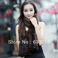 Mink fur scarf mink knitted thermal quality scarf black brown male Women genuine Fur scarf