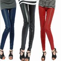 2014 new women Spring and autumn legging faux leather pants PU legging thickening women pants plus velvet women leggings