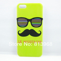 Light Green Moustache Colorful Glasses Hard Back Case Cover Skin For Apple For Iphone 5C
