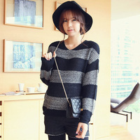Korean fashion Maternity  striped long-sleeved sweater pregnant loose knitwear  women  bottoming