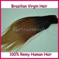 "Free shipping Wholesale Fashion  #1b/33/27 three tone 3pcs 12""-28"" 5A Brazilian virgin ombre hair straight human hair extensions"