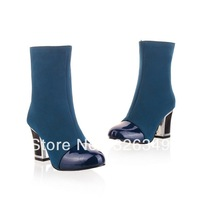 new discount  fashion martin boots nubuck leather color block decoration round toe side zipper ultra high heels shoes