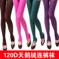 sexy velvet pantyhose 120d candy color thick stockings step on the foot stockings female