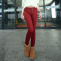 2014 new plus size slim jeans plus velvet women pants candy color pencil pants Thin thicken waistline Autumn and winter  pants
