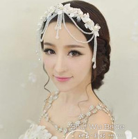 Free Shipping! Hotsale Crystal Beaded Bridal Tiaras Crown Wedding Hair Accessories Lace Tassel Formal Dress Accessories HG189
