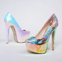 2014 lady pumps sexy evening snake heels graffiti pointed toe platform high heel pumps wedding shoes for woman party heels