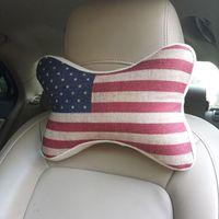 USA National Flag Car Travel Seat Neck Rest Bone Headrest Pillow Cushions PQ801