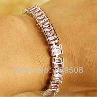"Wholesale Feminine Pretty Emerald Cut 6.54"" Pink Sapphire 925 Silver Bracelets"