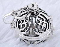 2013 fashion balls 925 sterling silver cages cage pendant without harmony balls 20MM Hollow balls 1pc sales H6-20