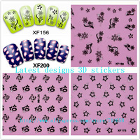 wholesale3D Nail Art Sticker 54 styles lace & luxry leopoard DIY french tip Nail Decoration 1000packs/lot free DHL/EMS shipping