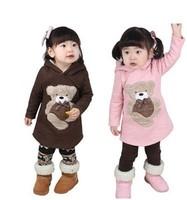 children baby girls boys cotton bear hoodies kids cartoon winter sweater infant clothes coat wholesale 5pcs/lot  Free shipping