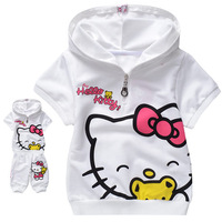 Free shipping  girls clothes pink  hello kitty children clothing sets T-shirt + pants children  kids clothes children hoodies
