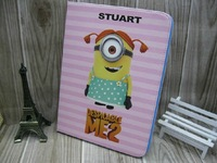 Original Cute Cartoon Despicable Me Minion Flip Stand Leather Cases Sleep Cover For Samsung Galaxy 10.1 Tab 3 P5210 P5200 Pouch