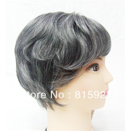 Baños De Verde Malaquita: de aspecto natural peluquín para los hombres de color gris sistema de
