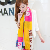 Blue 2013 pure wool scarf multi-colored color block decoration Women cape dual-dx1107