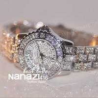 Super crystal women watch fashion watches chain women's quartz wrist watches free shiping bracelet watch