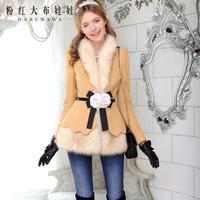 2013 autumn and winter high elegant  petals for women's wool coat