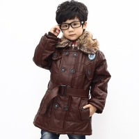 NEW Fashion Children Kids Coat Jacket Boy's Wram Outerwear PU Leather Design HOT Selling TT5395