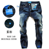 Clothing 2013 thin denim trousers shampooers slim straight jeans male