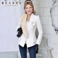 2013 autumn white  gold chain long-sleeve wool women's short coat
