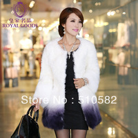 """Xuehu"" New Fashion medium-long Women's  leather wool  fleece gradient color fox fur coat"