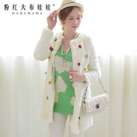 2013 winter fur coat white with gem  artificial  Long faux fur women's coat