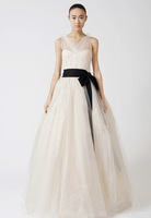 297 - Free Shipping High Quality Custom Made 2013 New A-Line Tulle elegant black belt Wedding Dress Gowns