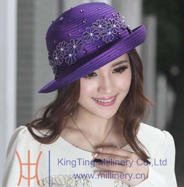 Livraison gratuite Hot vente ladies église chapeaux suprême Chapeau Satin tissu diamant pierres de revêtement nouvellement conçu Derby Chapeau(China (Mainland))