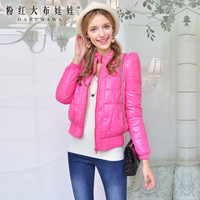 Women's cotton-padded jacket 2013 occulting pink puff sleeve back bow design short wadded jacket