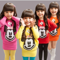 new 2013  Autumn-Summer  girls dress  with Minnie in the front decorated Free Shipping