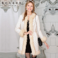 2013 white juxtaposition long  design cotton-padded jacket