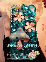 FREE SHIPPING 2COLORS  bling rhinestone mushroom & cherry with blue big diamond back cover case for iphone 5/5s/5c iphone 4/4s