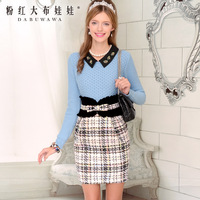 2013 female blue gem long-sleeve pullover sweater