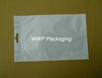 Wholesale 12*18cm White / Clear Self Seal Zipper Plastic Retail Packaging Poly Bag, Ziplock Bag Retail Package W/ Hang Hole