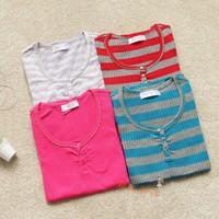 Autumn and winter fashion sweet stripe low o-neck sweater basic shirt sweater ab02
