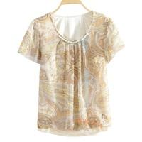 2013 summer pearl chiffon o-neck print short-sleeve chiffon shirt pullover ds50