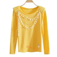 2013 candy color sweet o-neck flower chain 100% long-sleeve cotton t-shirt ak17