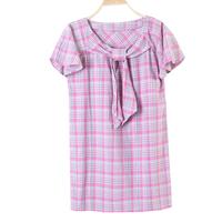 Women sweet o-neck bow lacing plaid cute short-sleeve shirt ds17 one-piece dress