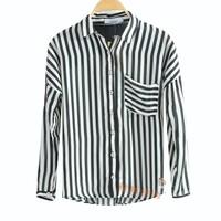 2013 black and white vertical stripe large pocket adjustable chiffon shirt cardigan ak08