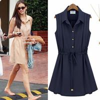 2013 women's fashion sleeveless pleated skirt slim waist lacing chiffon one-piece dress summer full dress