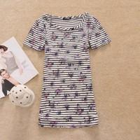 Women's fashion stripe 100% short-sleeve cotton round neck T-shirt bq14 basic shirt