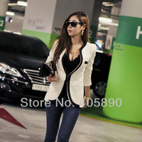 Women New Style Small Outerwear Solid Slim Waist Casual Suit Jacket Black,White/S,M,L,XL
