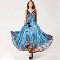 2014 New Fashion Women Colorful Beach Skirt Big Swing Chiffon vest dress with Belt